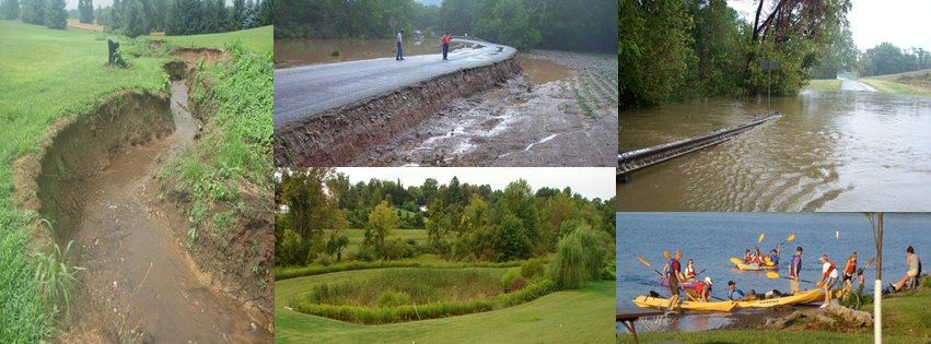 Collage of water-related photos showing erosion, flood damage, stormwater structures, and kayakers.